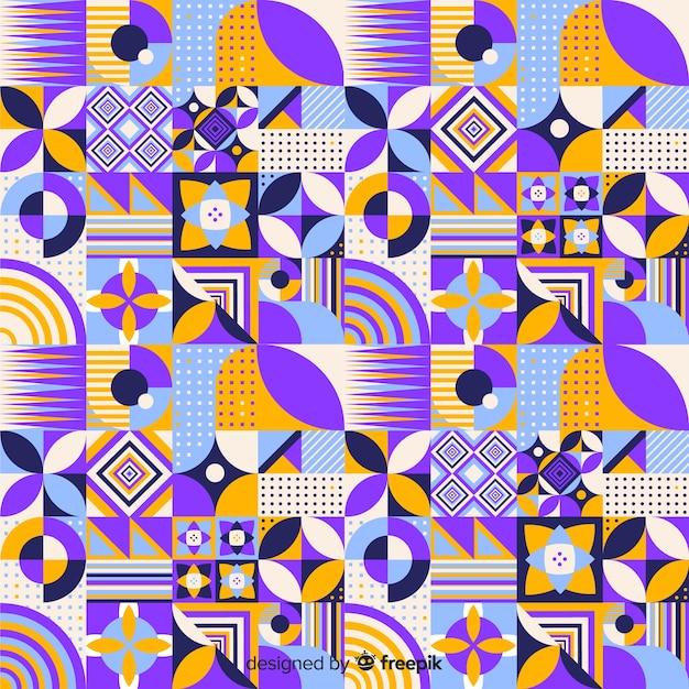 Красочная геометрическая мозаика фоном Бесплатные векторы