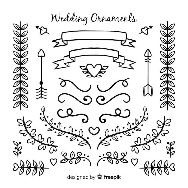 手描きの結婚式の飾りコレクション 無料ベクター