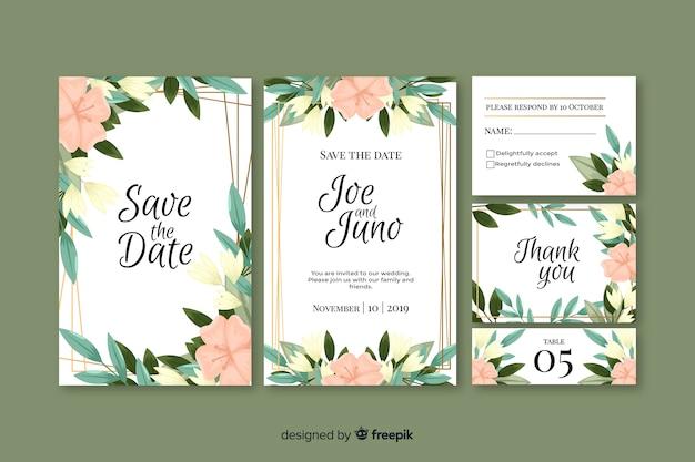 花の結婚式の文房具のテンプレートコレクション 無料ベクター