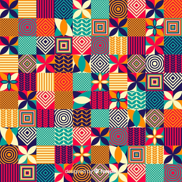 カラフルな幾何学的なモザイクタイルの背景 無料ベクター