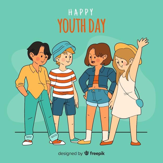一方で子供たちのグループは、明るい緑色の背景で若者の日を祝う描画スタイル 無料ベクター