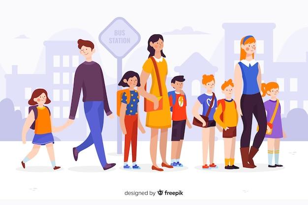 両親と一緒に平らな学校の子供たち Premiumベクター