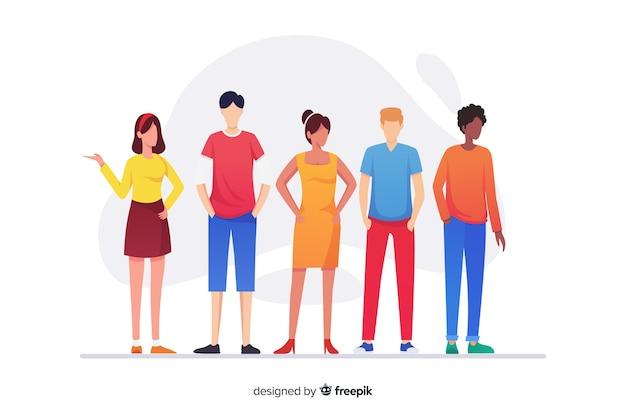Группа людей из разных рас Бесплатные векторы