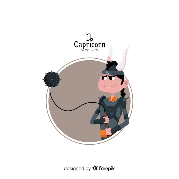 Козерог персонаж рисованной стиль Бесплатные векторы