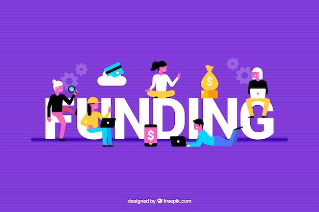 Красочный фон с словом финансирования Бесплатные векторы