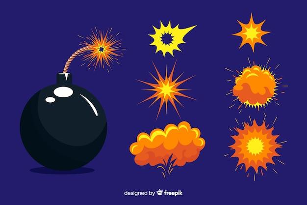 Мультипликационная бомба и эффект взрыва Бесплатные векторы