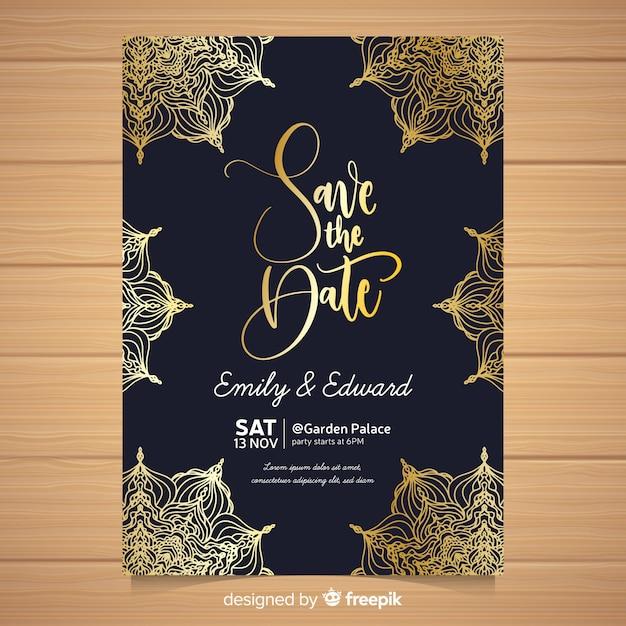 エレガントな結婚式の招待状カードのテンプレート 無料ベクター