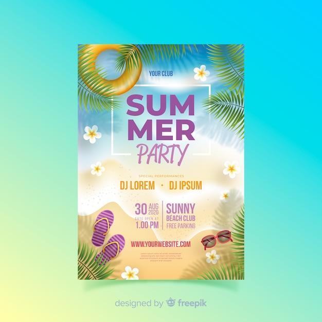 Реалистичная летняя вечеринка постер шаблон Бесплатные векторы