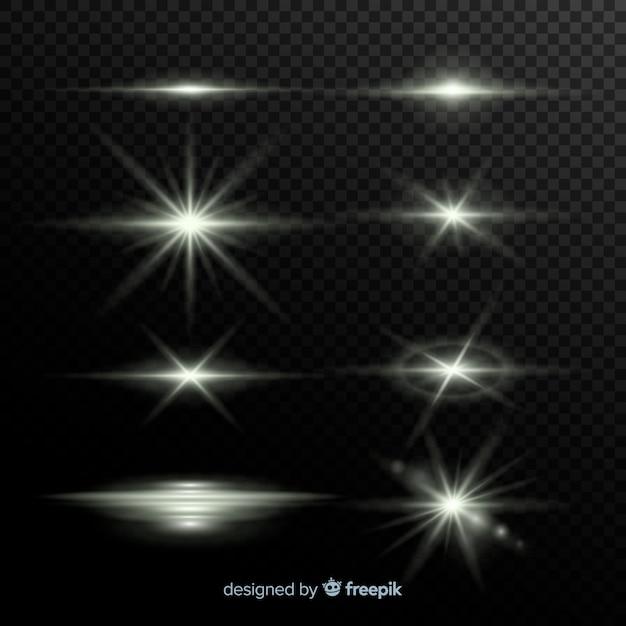 現実的な光のバーストのコレクション 無料ベクター