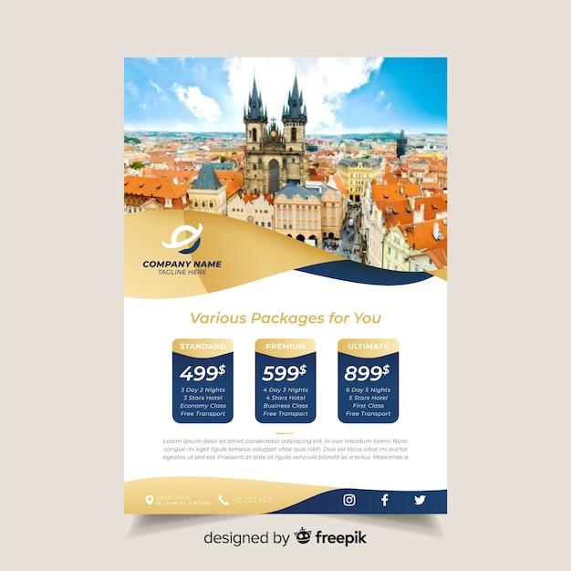 写真付きの旅行パンフレットの型板 無料ベクター