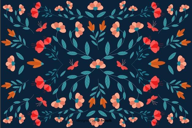 フラットデザインの花柄の背景 無料ベクター