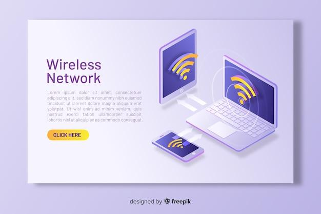 等尺性ワイヤレスネットワークのランディングページ 無料ベクター