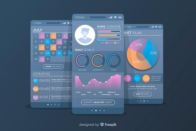 Фитнес мобильное приложение инфографики плоский дизайн Бесплатные векторы