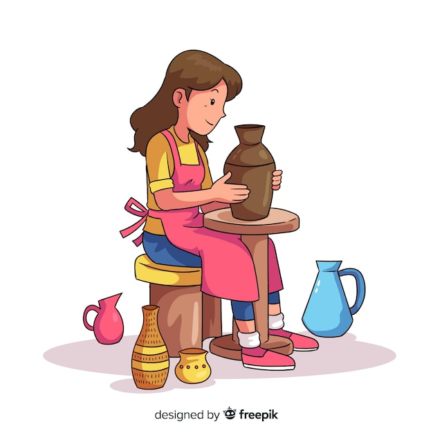 手描きの陶器を作る人 無料ベクター