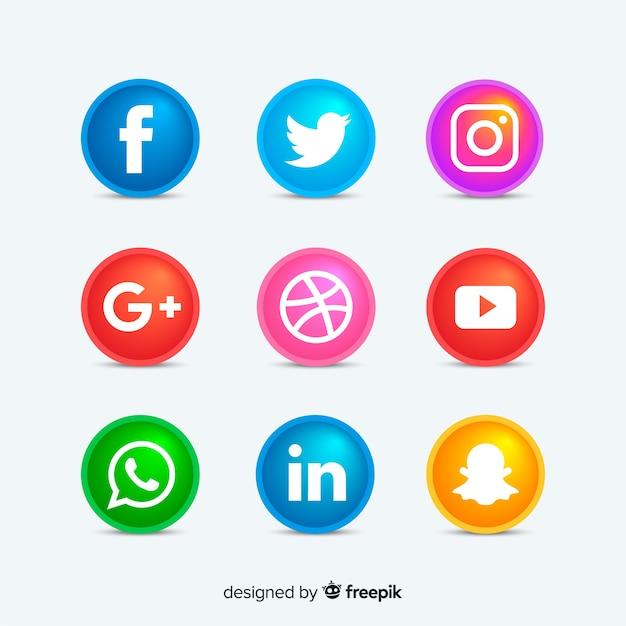 丸いソーシャルメディアのアイコンボタン 無料ベクター