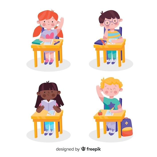 手描きの子供たちが学校に戻る 無料ベクター