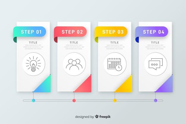 カラフルなインフォグラフィックステップフラットデザイン 無料ベクター