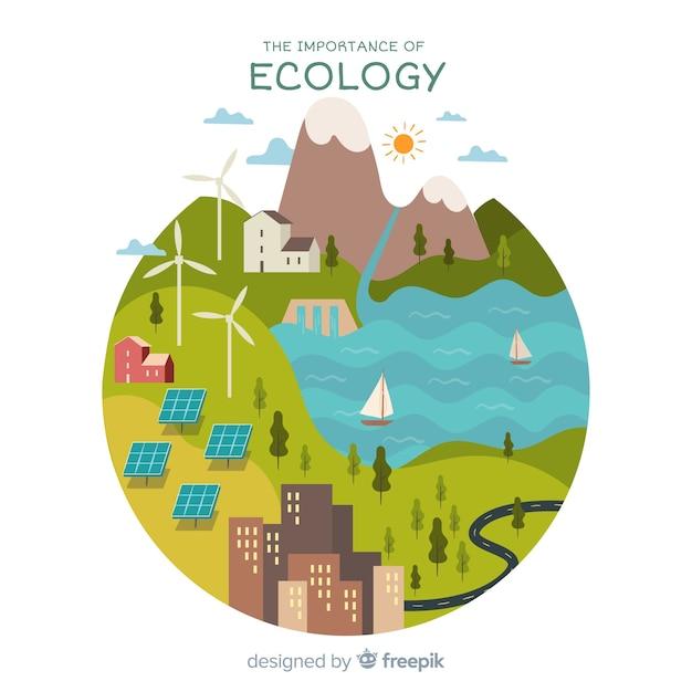 エコロジーの概念と現代の自然の背景 無料ベクター