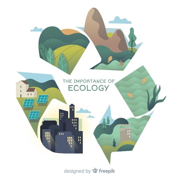 Современная природа фон с концепцией экологии Бесплатные векторы