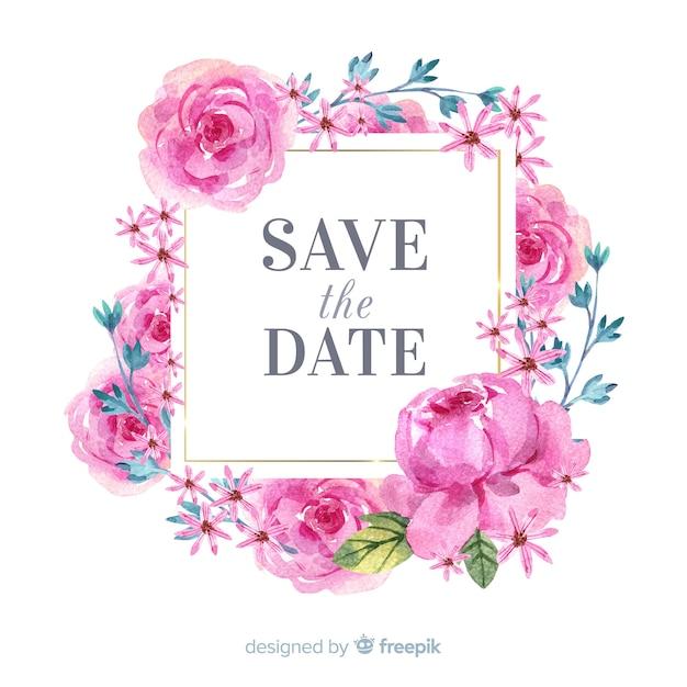 水彩花のフレームは、日付の背景を保存します 無料ベクター