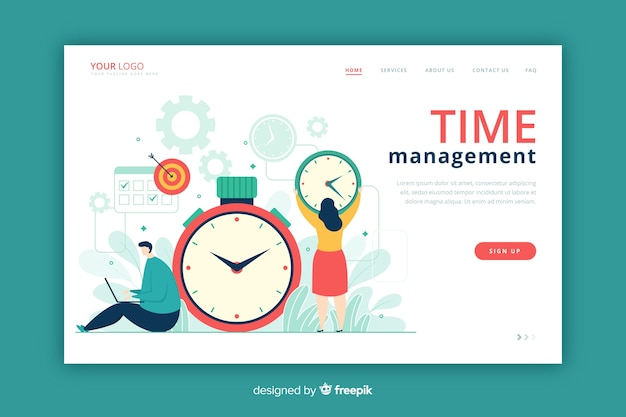 時間管理ランディングページフラットスタイル 無料ベクター