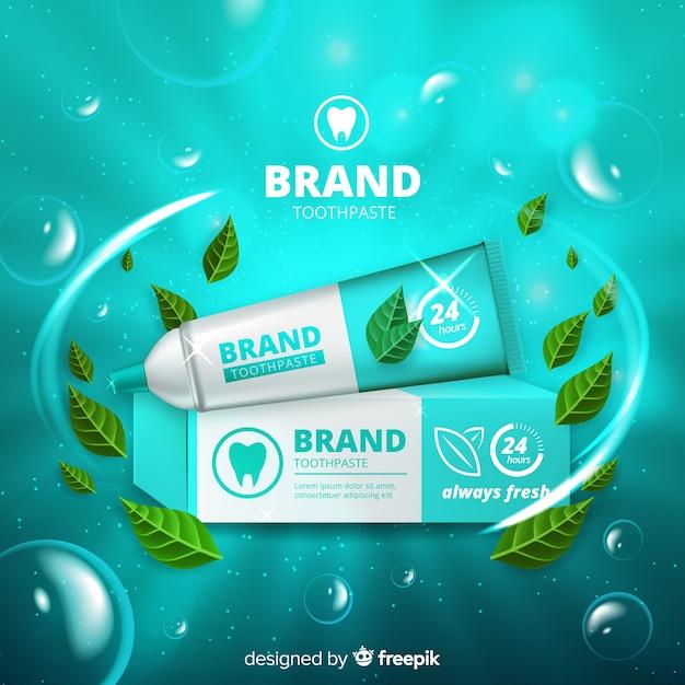 新鮮な歯磨き粉広告のリアルなスタイル 無料ベクター