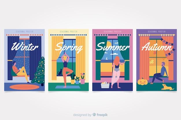 手描きの季節のポスターセット 無料ベクター
