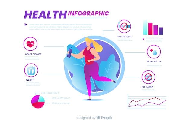 健康フラットデザインに関するインフォグラフィック 無料ベクター