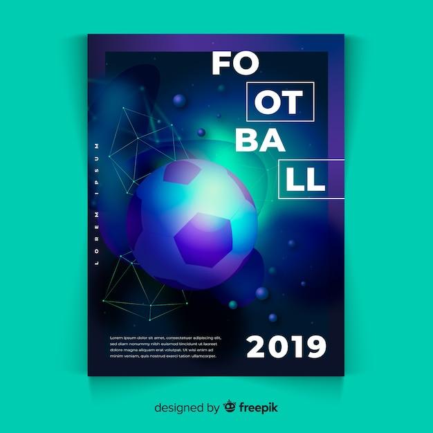 リアルサッカーボールポスターテンプレート 無料ベクター