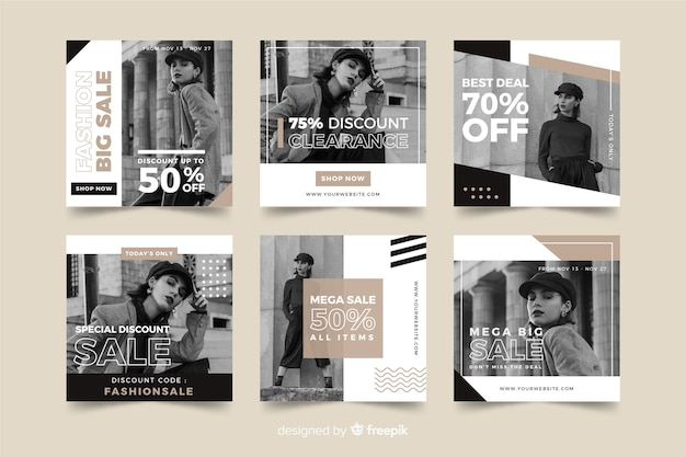 ファッションセールスソーシャルメディアバナーコレクション 無料ベクター