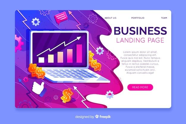 三次元ビジネスランディングページテンプレート 無料ベクター