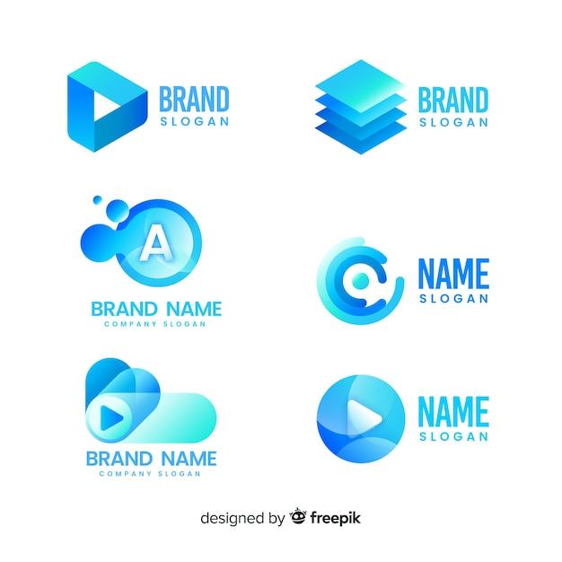 Коллекция шаблонов логотипа градиентной технологии Бесплатные векторы