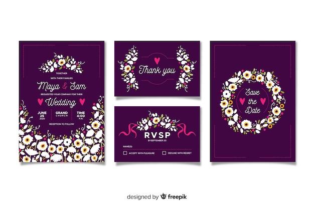 Плоский цветочный свадебный шаблон Бесплатные векторы