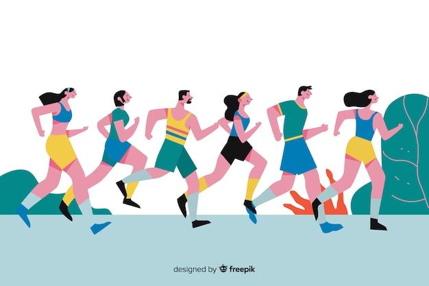 マラソン大会に参加している人 無料ベクター