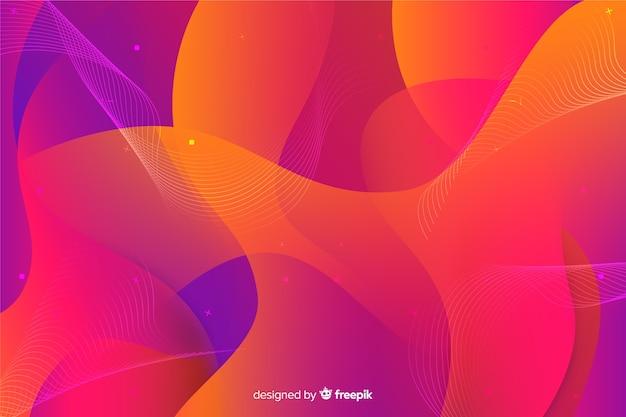 抽象的なカラフルな流れる図形の背景 無料ベクター