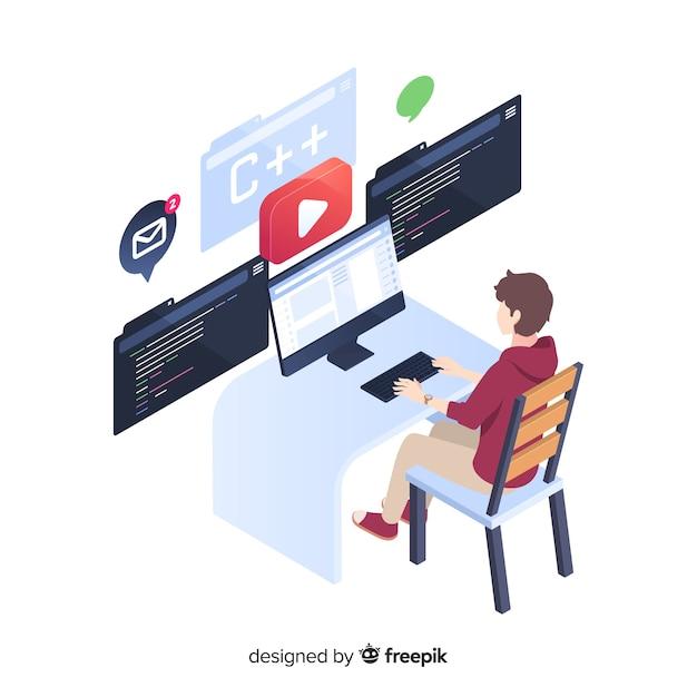 アイソメ図スタイルで働くプログラマ 無料ベクター