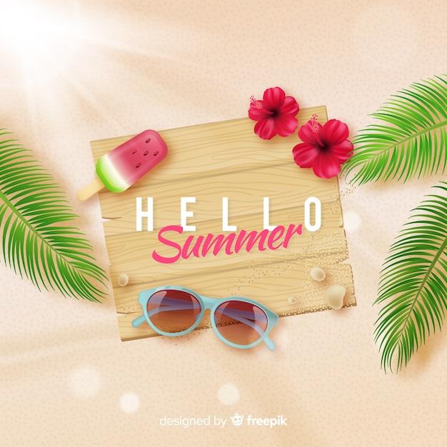ビーチで現実的なこんにちは夏の背景 無料ベクター