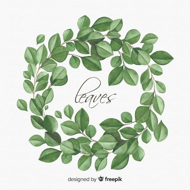 Акварель естественный фон с листьями Бесплатные векторы