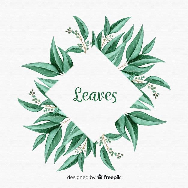 水彩の自然な背景の葉 無料ベクター
