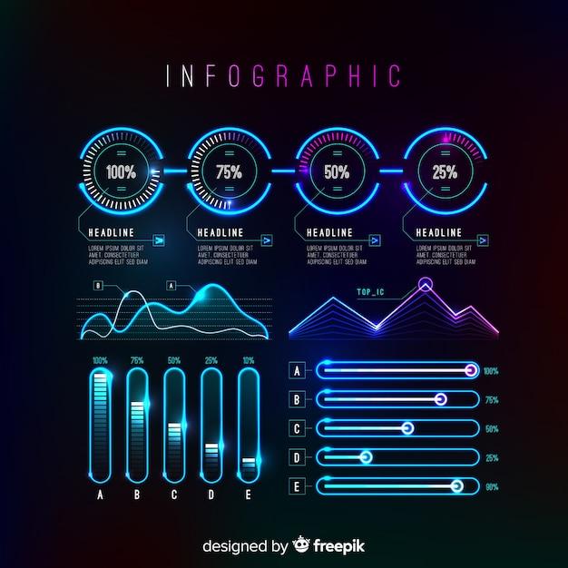 Коллекция футуристических инфографики элементов Бесплатные векторы