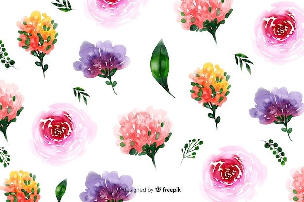 Естественный фон с акварельными цветами Бесплатные векторы