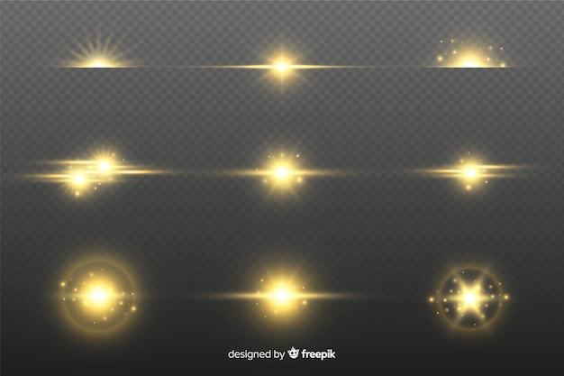 Коллекция реалистичных вспышек света Бесплатные векторы