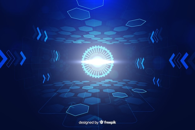 技術的な光のトンネルの未来的な背景 無料ベクター