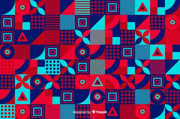 カラフルな幾何学的形状のモザイクの背景 無料ベクター