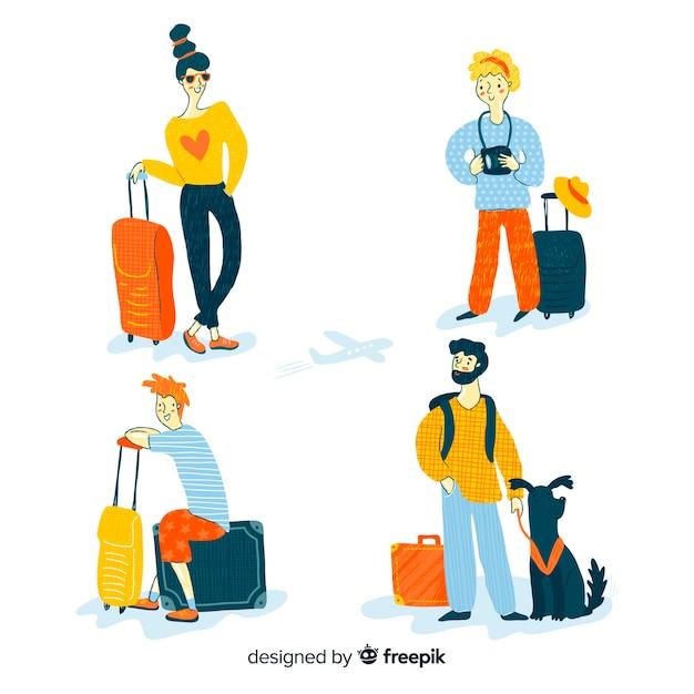 手描きのデザインを旅行する人々のコレクション 無料ベクター