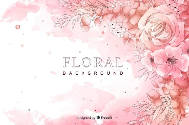 水彩画の花と自然の背景 無料ベクター