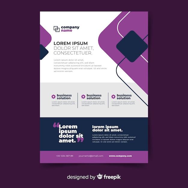 Плоский дизайн бизнес флаер шаблон Бесплатные векторы
