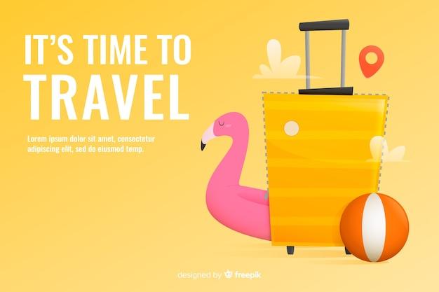 Туристический баннер шаблон плоский дизайн Бесплатные векторы