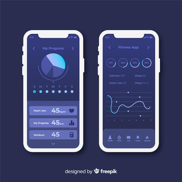 フィットネス携帯アプリインフォグラフィックフラットデザイン 無料ベクター