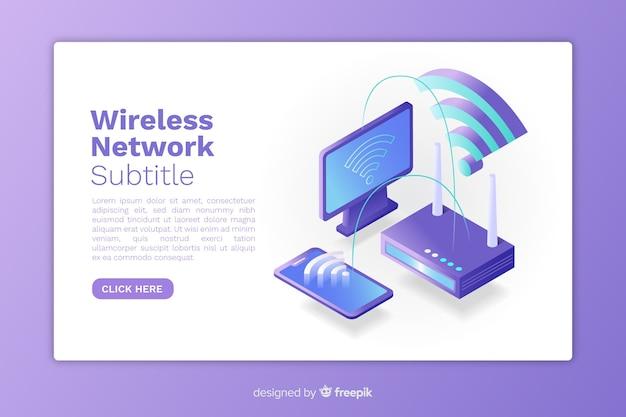 等尺性ワイヤレスネットワークランディングページ 無料ベクター